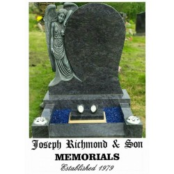Fully carved angel memorial with kerbs