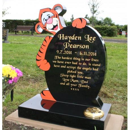 Flat sandblast and painted Tigger memorial