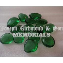 Green Glass Kidney Pebbles