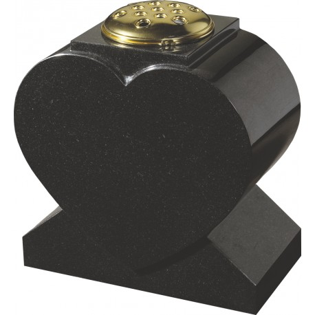 Black Granite Heart Vase